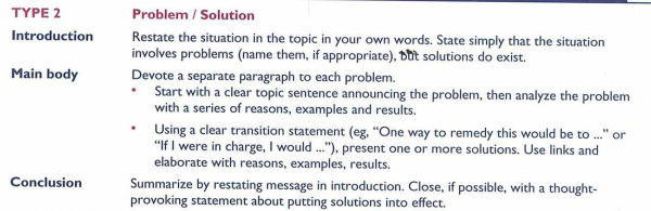 Writing a problem and solution essay